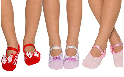 3 Pairs Non Slip Skid Crossover Cotton Ballerina Yoga Socks with Grip Bottom for Kids Girls Toddlers Children (5-7 Years Old, Red with White Bow, Purple and White, Pink with Pink Bow)