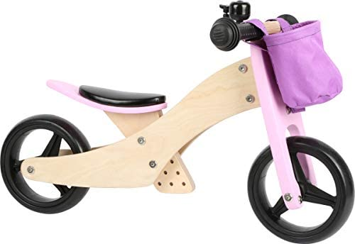 Small Foot 11612 Trike 2 in 1 Rosa aus Holz, Drei Laufrad, mit verstellbarem Sitz und gummierten Reifen Giocattoli, Colore