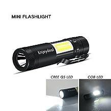 Enjoydeal Multi-Function CREE Q5 LED COB Flashlight, Portable Pocket Mini Small Penlight Torch with Pen-Clip, 4-Modes 500LM Black AA