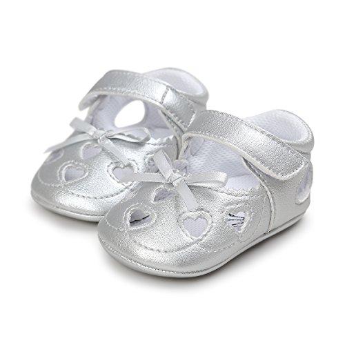 (Meckior Infant Baby Girls Sandas Summer Soft Leather No-Slip Princess Shoes (0-6 Months, A-Silver))