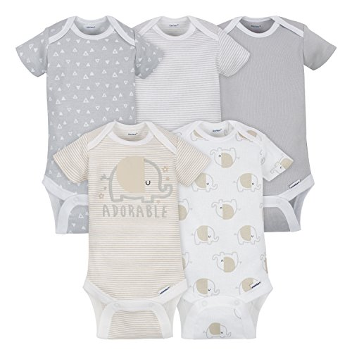 (Gerber Baby 5 Pack Onesies, Elephant, NB)