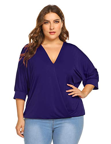 IN'VOLANDWomen Plus Size V Neck Wrap Front Drape Tops and Blouse Casual Loose Shirt,Bronze Violet,18