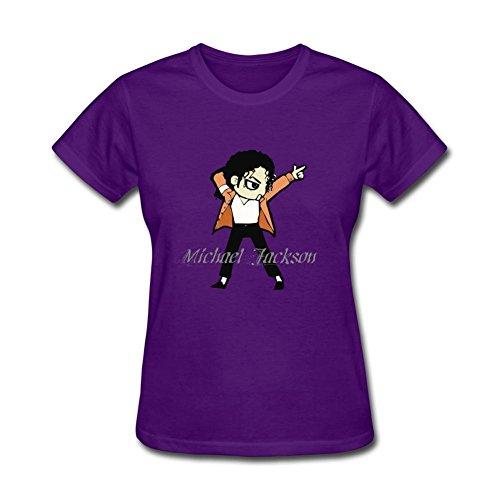 Xiaoqiu Women's Michael Jackson T-shirt XXL Purple