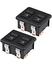 uxcell® 10 Pins Car Window Switch Dual Button Car Control Master Rocker Switch Momentary Glass Lifter Switch, DC 12V 2pcs