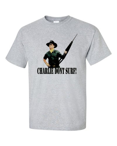 Not Just Nerds Men's Charlie Dont Surf T-Shirt X-Large Grey