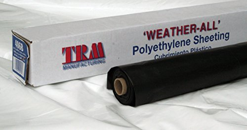 TRM Manufacturing 606B Weatherall 6 Mil Poly Plastic Sheeting Visqueen, 6' wide 100' long, 1 Roll in a box, Black (Sheeting Mil Poly 6)