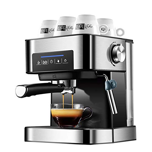 LTLWSH Espresso Machine 850 Watts, 20 Bar, 1.5-Litre Water Tank LED Display, Washable Drip Tray, Movable Frothing Nozzle, Removable Water Tank, Stainless Steel