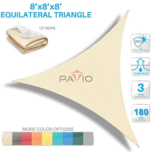 Patio Paradise 8 x 8 x 8 Beige Sun Shade Sail Triangle Canopy, 180 GSM Permeable Canopy Pergolas Top Cover, Permeable UV Block Fabric Durable Outdoor, Customized Available