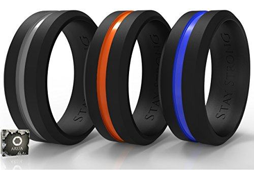 Silicone Wedding Bands (Rings) for Him. 3-PACK. Men Rings Designed by ARUA for Sportsmen, Workers and Active Types. Grey, Orange, Blue Thin Middle Line. Gift Box - Message Ring Basketball