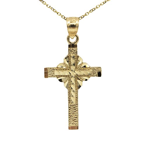 14k Yellow Gold Cross Pendant Necklace (18