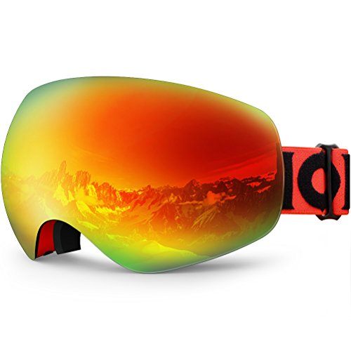 ZIONOR X10 Ski Snowboard Snow Goggles OTG for Men Women Youth Anti-Fog UV Protection Helmet Compatible (VLT 25.4% Red Frame Revo Red Lens)
