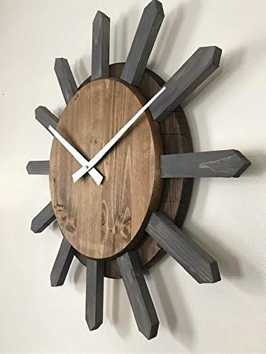 - Starburst Style handcrafted wood clock 27