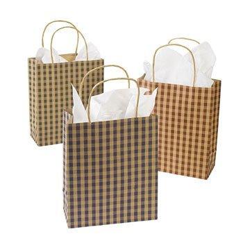 12 Country Christmas Gingham Gift Bags - Medium