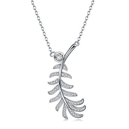 BIZE Silver Leaf Necklaces & Pendants Elegant Choker Necklace Foe Women (Leaf Copper Waterfalls)