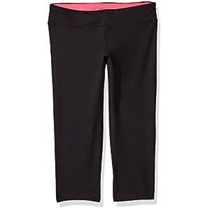 Hanes Big Girls' Sport Performance Capri Legging, Black/Pink Extreme, M