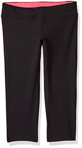 Hanes Big Girls' Sport Performance Capri Legging, Black/Pink Extreme, S (Hanes Capris Black)