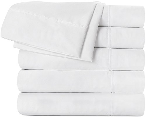 Flat Sheet 6 Pack (Queen, White) Brushed Micr...