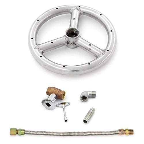 Lakeview Outdoor Designs Stainless Steel 6-Inch Three-Spoke Round Natural Gas Single-Ring Burner W/Connection Kit