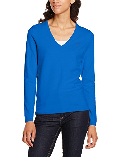 Tommy Hilfiger NEW IVY V-NK Swtr, Suéter para Mujer, Azul (Skydiver), 8 (Talla del Fabricante: Small)