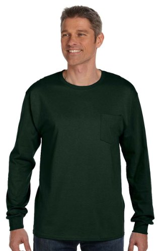 Hanes Mens Tagless Long-Sleeve T-Shirt With Pocket 5596 2XL, Deep Forest