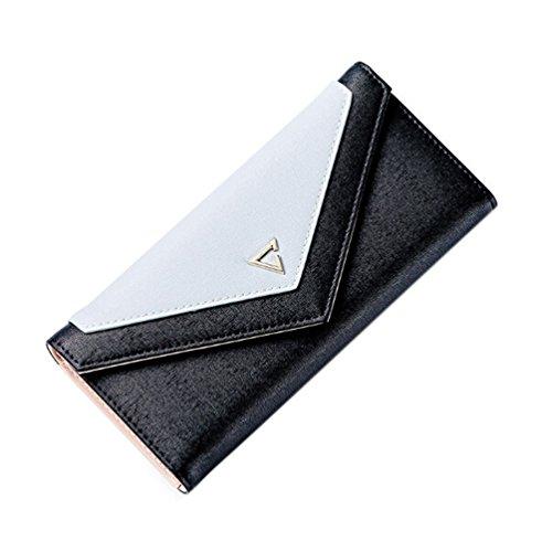 GGTFA Frauen PU Leder Envelope-Stil Nähte Farbe Dreifachem Wallet Geld Geldbörse card Case Halter Organizer Schwarz tsKBU5T