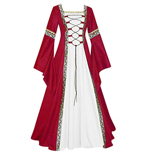 Womens Dress Medieval Renaissance Costume Vintage Lace-up Floor Length Irish Princess Over Dress Plus Size Gowns (M, Wine)