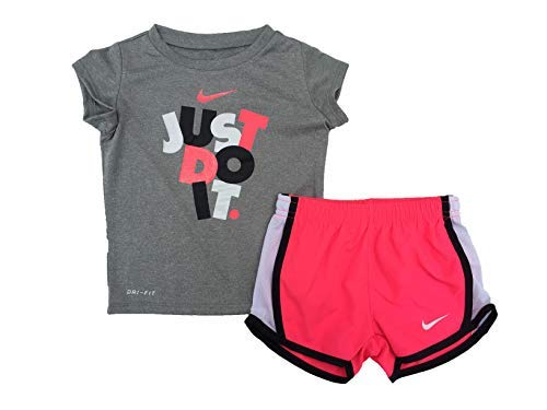 Nike Girl's Graphic-Print T-Shirt & Shorts 2 Piece Set (Racer Pink(16D210-A4F)/Black/White, 2T)