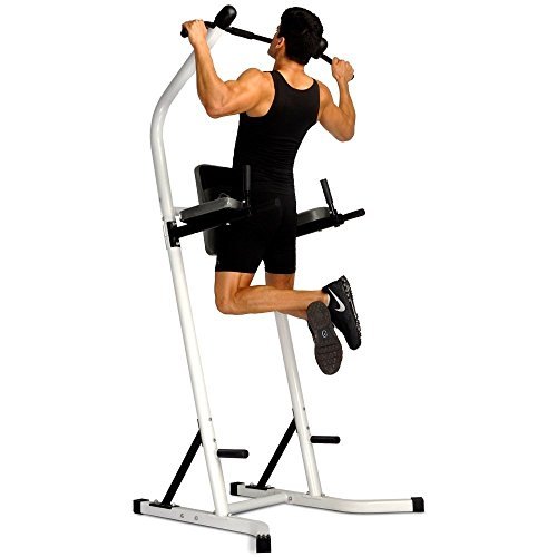 Vertical Knee Raise Dip Station Heavy Duty 500 Lbs Power Tower With Dip Station Pull Up Bar Standing Tower Gym Equipment Sports Pull Up Tower-White Full Body Strength Pull Up - US Stock Via Fedex by CRYSTAL FIT