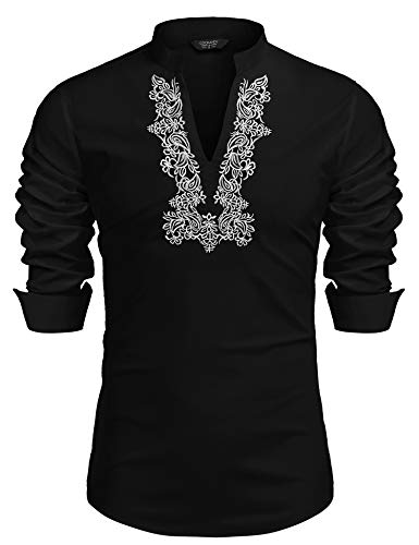 COOFANDY Mens Cotton Linen Popover Shirt Slim Fit Casual Long Sleeve Floral Embroidery V Neck Beach Wedding Henley T Shirts