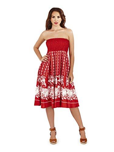 Vestido Veraniego de Dama 2 en 1 de algodón Pistachio Rojo 2