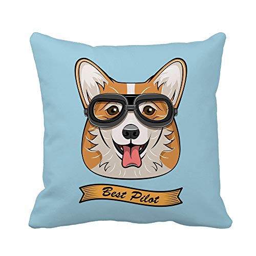 Awowee Throw Pillow Cover Cute Pilot Corgi Dog Face Traveler Retro Aviator Glasses 20x20 Inches Pillowcase Home Decorative Square Pillow Case Cushion Cover ()