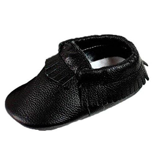 Kingfansion Baby Tassel Soft Sole Leather Shoes Infant Boy Girl Toddler Moccasin (XL, Black)
