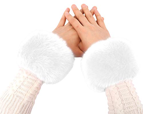Simplicity Faux Fur Costume Wrist Band Ring Cuff Fuzzy Arm Warmers,White]()