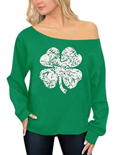 St Patrick's Day Women's Sexy Off Shoulder Sweatshirt Graphic Printed Clover Long Sleeve Top L