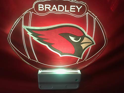 Arizona Cardinals NFL Football Night Light Multi Color Personalized LED Plug-in, Ultra-Slim Cool-Touch Light with Smart Dusk to Dawn Sensor, Family Room Bedroom Kitchen Bathroom Hallway, Super Cool ()