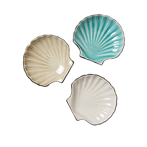 Colias Wing Lovely Shell Shape Design Multipurpose Porcelain Side Dish Bowl Seasoning Dishes Soy Dipping Sauce Dishes-Set of 3 (Blue&Beige&White) (Porcelain Dish Shell)