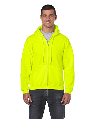 Gildan 18600 – Classic Fit Adult Full Zip Hooded Sweatshirt Heavy Blend – First Quality – Safety Green – 5X-Large