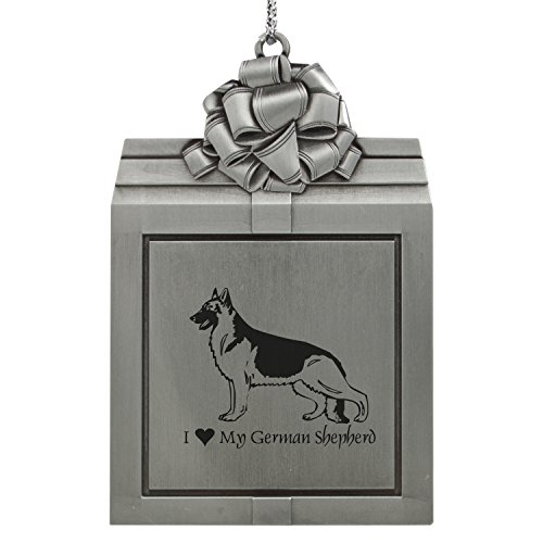 - Pewter Christmas Holiday Present Ornament-I love my German Shepherd-Silver