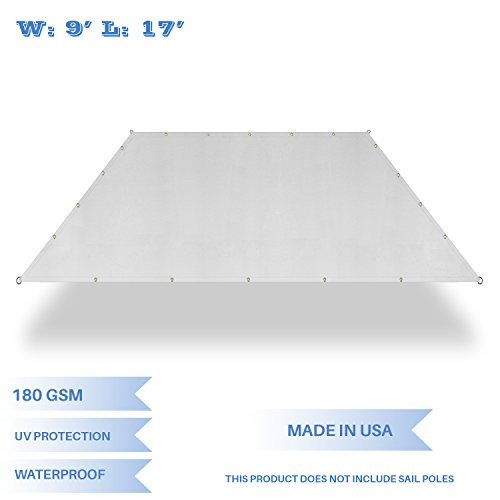 E&K Sunrise 9' x 17' Waterproof Sun Shade Sail-Light Grey Straight Edge Rectangle UV Block Durable Awning Perfect for Canopy Outdoor Garden Backyard-Customized Sizes Available by E&K Sunrise