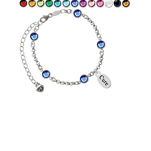Cure in oval Custom Crystal Color Fiona Charm Bracelet