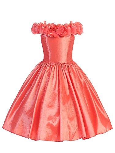 Bello Giovane Flower Decorated Off Shoulder Taffeta Flower Girl Dress (12, (Coral Girls Dresses)
