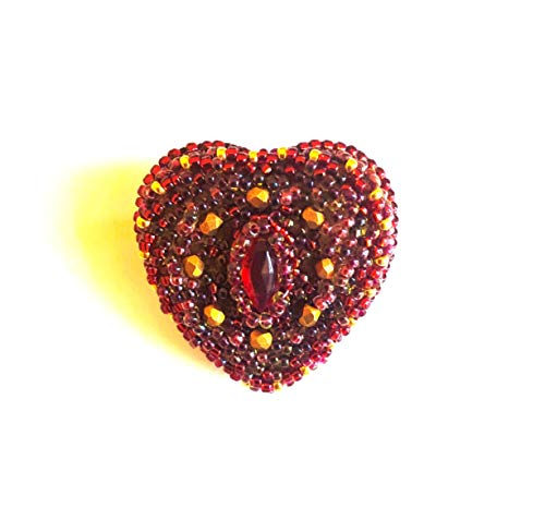 Red Rhinestone marquise navette Small Bright Heart Brooch