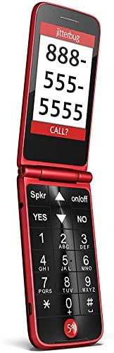 Jitterbug Flip Easy-to-Use Cell Phone for Seniors - Red by GreatCall