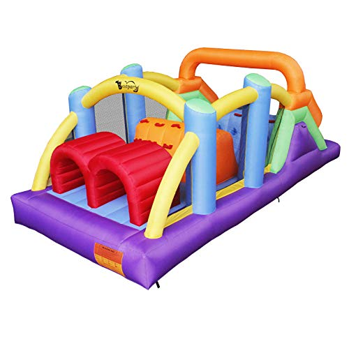 Why Should You Buy BestParty Obstacle Course Inflatable Bounce House Castle with Large Slides Bounce...