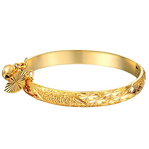 UM Jewelry Gold Plated Infant Charms Bracelet Bangle for New Born Baby with Heart Leaf,Bell 5.31