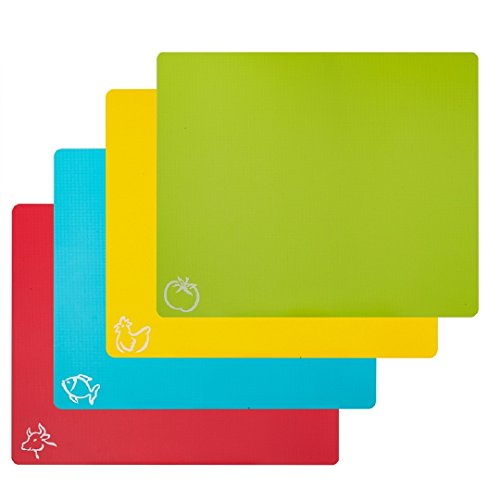 STGA Cutting Board Mats, Food Grade Plastic Kitchen Cutting Mat With Food Icons, Set of 4 (15×12)