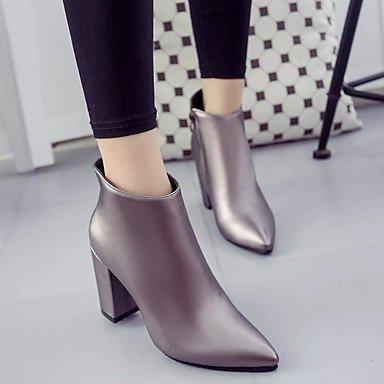 DESY Mujer Zapatos PU Otoño Invierno Confort Botas Tacón Robusto Botines/Hasta el Tobillo Para Casual Negro Rojo Champaña champagne