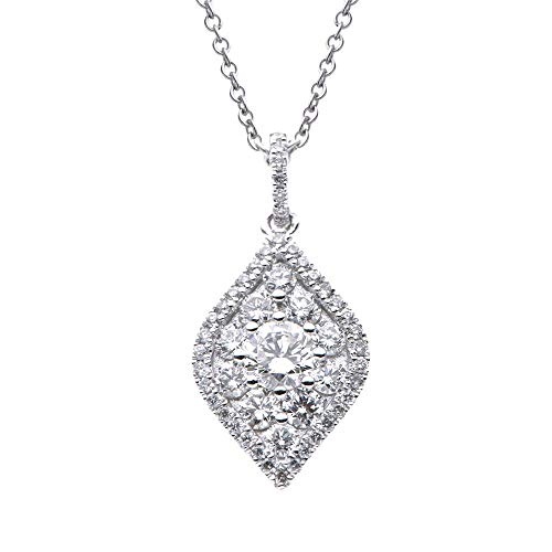 18kt White Gold Fancy Marquise Shape Diamond Pendant 0.58ct