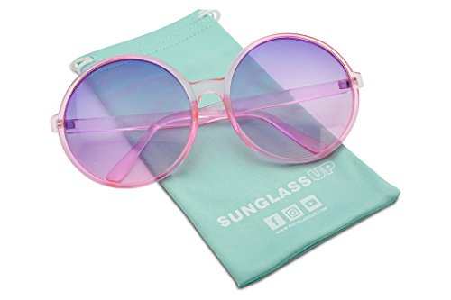 Super Huge Round Circluar Color Translucent Two Tone Lens Circle Retro Sun Glasses (Pink Frame | Purple Pink - Transparent Are Or Sunglasses Translucent