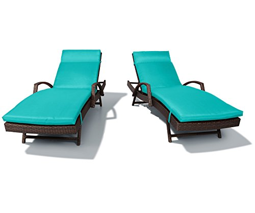 Adjustable Patio Lounger (Ulax Furniture 2 Pack Adjustable Outdoor Patio Rattan Wicker Chaise Lounge Chair Set with Cushion Pad and Armrest, Aruba Blue)
